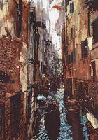 池田大地さん「海に浮かぶ街」(縦200センチ、横140センチ)