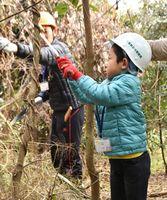 樹木の枝打ちに取り組む児童ら=佐賀市の下水浄化センター