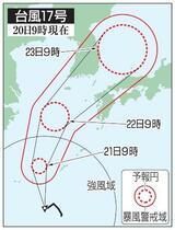 台風17号が沖縄へ