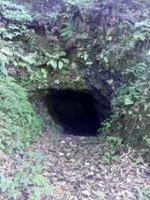 彦山の南、福岡県香春町に残る銅の採掘坑「間歩」(まぶ)。ここの銅で宇佐八幡宮の「御神鏡」を造ったという