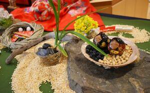ひな人形に外の世界を見せる風習「ひなの国みせ」(右)と、いり米を使って表現された川の上を流れる「流しびな」(左)のしつらえ=佐賀市の国際交流プラザ