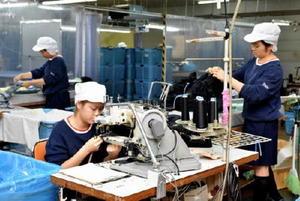 工場で働くベトナム人技能実習生。人手不足を背景に、県内でも受け入れが増えている=杵島郡江北町のイイダ靴下