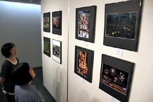 写真展に並んだホタルや花火、祭りなどの作品=佐賀市立図書館