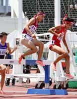 陸上男子3000メートル障害予選 力走する鳥栖工の上田大樹(中央)=福井市の9.98スタジアム
