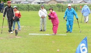 狙いを定めて力強く球を打つ選手たち=鹿島市の蟻尾山公園グラウンドゴルフ場