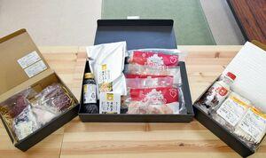 「肥前江北WEB商店街」の商品例。鍋セットや馬肉などを扱う