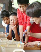 スタッフが和紙に色を付ける様子を真剣に見つめる児童ら=佐賀市の和紙工房「名尾手すき和紙」