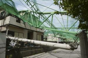 台風15号の影響で倒壊し、住宅を直撃したゴルフ練習場のポールと電柱=9日、千葉県市原市