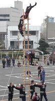 7・5メートルのはしごの上で妙技を披露する消防団員=平成26年1月12日、鳥栖市役所前