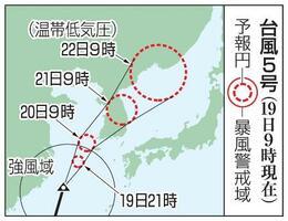 台風5号の予想進路(19日9時現在)