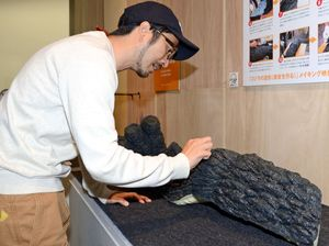興味深くゴジラの表皮に触れる池田学さん=佐賀市の県立美術館
