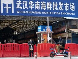 閉鎖された中国・武漢の海鮮市場=2020年1月(新華社=共同)