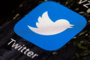 スマートフォンの画面に表示されたツイッターのロゴ(AP=共同)