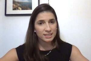 共同通信のオンライン取材で抱負を語るイレアナ・ロドリゲスさん