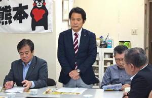 民進党佐賀県連の常任幹事会であいさつする大串博志代表(中央)=10日、佐賀市の県連事務所