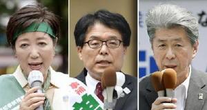 東京都知事選が告示され、有権者に支持を訴える(右から届け出順に)鳥越俊太郎氏、増田寛也氏、小池百合子氏=14日、東京都内