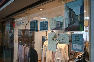 商店街の店舗に飾られた参加者の作品=佐賀市の白山名店街