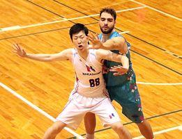 相手選手と激しく競り合う監督兼選手のアル・ビェコビッチ(右)=広島県のJFEスチール体育館
