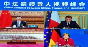 オンライン会合に臨む(左上から時計回りに)中国の習近平国家主席、フランスのマクロン大統領、ドイツのメルケル首相=16日(新華社=共同)