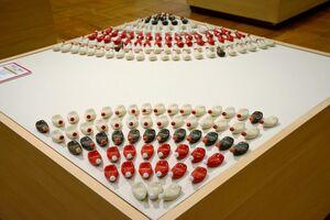 マヨネーズやケチャップなどのチューブをデザインした箸置き=有田町の県立九州陶磁文化館