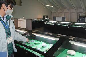 出土した陶磁器524点を展示=有田町泉山の有田焼参考館