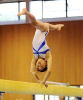 体操女子個人総合で2連覇を果たした田代の曽根崎しずく=佐賀市の県総合体育館