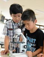 ミドリムシを探して顕微鏡をのぞき込む児童=佐賀市高木瀬の市清掃工場