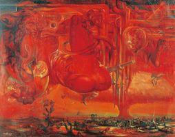 古沢岩美「憑曲」(1948年、油彩・画布、151×192センチ、板橋区立美術館蔵)