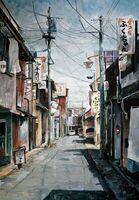 県高校美術連盟賞に輝いた作品。昼の飲食店街の静けさを詩情豊かに描いた