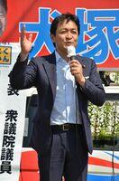 児童手当拡充などの公約を主張した国民民主党の玉木雄一郎代表=佐賀市巨勢町