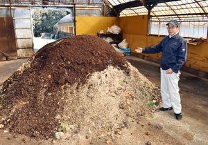 生ごみを堆肥化する取り組みで「食品産業もったいない大賞」の最高賞を受賞したNPO法人「伊万里はちがめプラン」の福田俊明理事長=伊万里市大坪町