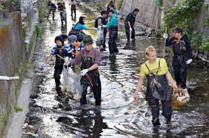 ブロック賞を受賞した「さがクリークネット」が開いた水路の実態調査の催し。参加者が実際に水路を歩いた=2019年11月、佐賀市の裏十間川