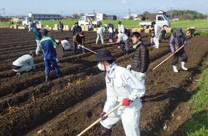 「和桑農園」に桑の苗を植え付ける参加者ら=神埼市神埼町の尾崎東分地区(神埼市提供)