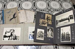 特攻で戦死した吉森茂さんの遺品。陸軍飛行学校時代のアルバムや日記も残る=唐津市浜玉町