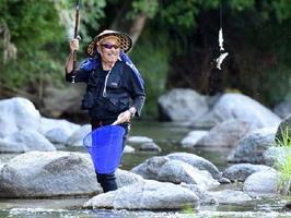 友釣りでアユを釣り上げる男性=15日朝、唐津市浜玉町の玉島川