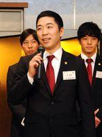 韓国のSKホークスへの移籍を発表するトヨタ紡織九州のCB金東喆=佐賀市のホテルニューオータニ佐賀