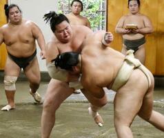 稽古する琴ノ若(手前左)=千葉県松戸市の佐渡ケ嶽部屋