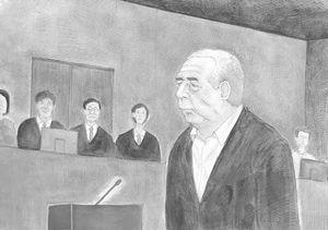 佐賀地裁の裁判員裁判初公判で「黙秘します」と述べる於保照義被告(イラスト・円田浩二)