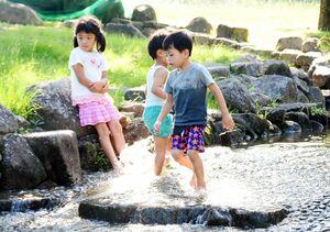 涼を求め、水遊びを楽しむ子どもたち=16日午後4時ごろ、佐賀市の県立森林公園