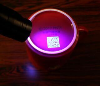 岐阜産陶磁器に透明QR
