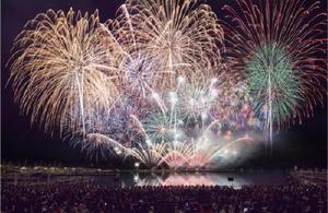 海外の花火師による花火を見上げる観客たち=長崎県佐世保市のハウステンボス(昨年の大会から)