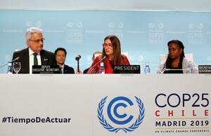 パリ協定のルール作りの合意先送りを決めたCOP25の全体会合。手前中央はシュミット議長=15日、マドリード(ロイター=共同)