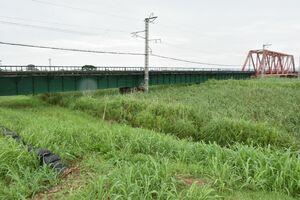 他の箇所より低くなっているというJR長崎線の鉄道橋周辺の堤防=江北町下小田大西地区
