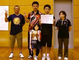 総合第50回玄海町民体育大会卓球大会で優勝した座川内チーム