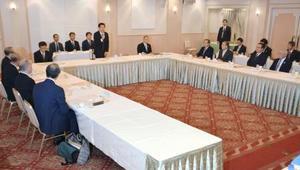 千葉県と成田空港周辺市町、国交省、成田国際空港会社による4者協議会=13日午後、千葉市