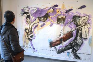 2011年のライブドローイングで小林さんが描いた作品=佐賀市天神の画廊「憩ひ」