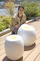 温泉卵からイメージを広げた杉山黎さんの「おんたまベンチ」。近く武雄市武雄町の筈町河畔公園に設置される
