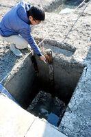 基礎の底からカキの貝殻が見つかり、松ぐいを打ち込むなど珍しい工法が見られる=佐賀市川副町の三重津海軍所跡