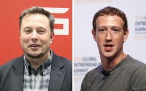 テスラのマスクCEO(左)、フェイスブックのザッカーバーグCEO(ゲッティ=共同)