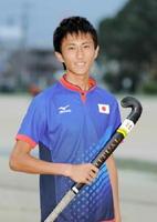 ホッケー男子の18歳以下日本代表に初選出され、日韓交流戦で初ゴールを決めた伊万里商高のFW川原大和さん=伊万里商高グラウンド